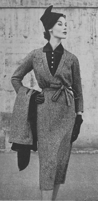 Tweed suit, from a 1952 issue of Vogue