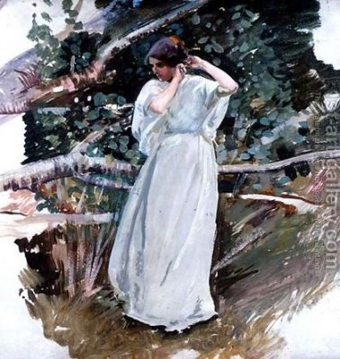 """Young woman in a white dress"" by Harry Watson"